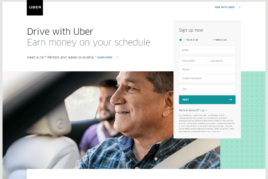 Uber Landing Page - Build the Perfect PPC Landing Page: Best Practice & Examples