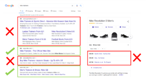 Image showing Brand Bidding for the term 'Nike Trainers' on Google with the official Nike store showing second in the PPC listings and only having 2 possible areas to be clicked out of 11 links - are your competitors dominating the SERPs ahead of your brand?