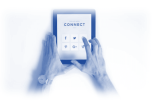 Image showing an ipad with the word 'Connect' - this is to show being active with your customer base will help elevate your brand and keep you in front of peoples eyes - more visibility will mean more sales