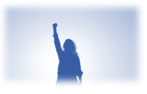Image showing lady silhouette with her arm punching the air to show how getting your Digital Marketing Covid-19 Rebound Strategy will help your business