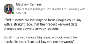 Image showing a LinkedIn post from Matt R thinks of What Google's Removal of Keyword Data Means for Businesses