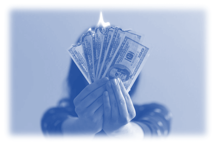 Image showing money burning to signify the ability of Google to spend double your PPC budget each day - if you need help with your Google Ads account the PPC Geeks offer a 100% free Google Ads audit so get yours today - stop google from overspending