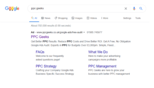 Image showing Google Ads page results highlighting the ad and page message match