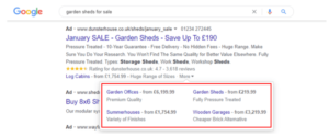 Image showing live ads on Google with Price Extensions. Adding these will improve your CTR