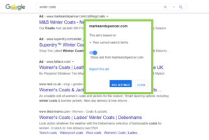 Image showing the Google SERPS with the new Google Ads Identity Verification