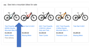 Image showing google shopping listing with a good quality image