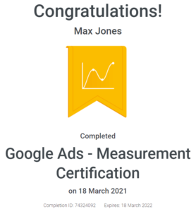 Max Jones - Google Ads Measurement Certification - April - 2021