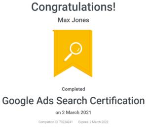 Max Jones - Google Ads Search Certification - April - 2021