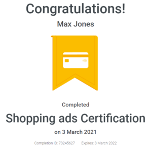 Max Jones - Google Ads Shopping Certification - April - 2021