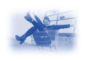 Image showing a lady in a shopping trolley - this is to show that this post is about New Google Merchant Center Product Data Specifications