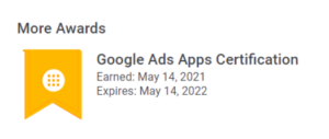 Image showing Kate has passed her Google Ads Apps Exams