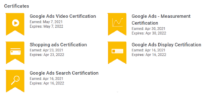 Image showing all of the Google Ads exams Kate has passed