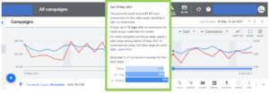 Image showing the conversion data lag as seen in Google Ads - this image shows how the conversion data lag looks for an account with a data lag of 12 days