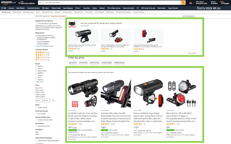 Amazon Ads search result page highlighting sponsored product listings PPC Geeks - Amazon Ads
