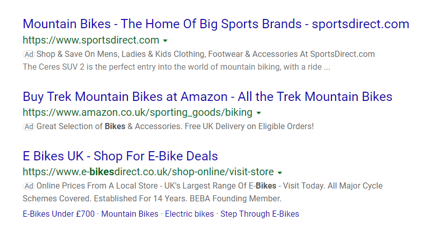 Bing Ads text ads on the serach engine results page - Bing Microsoft Ads