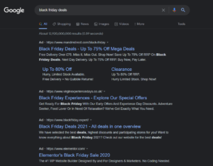 Black Friday deals showing on Google for the search term black friday deals - ppc geeks