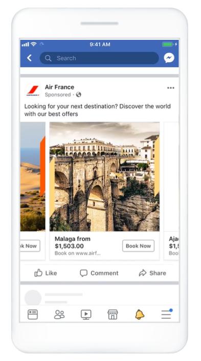 Facebook Ads Carousel Ads example - Facebook Ads