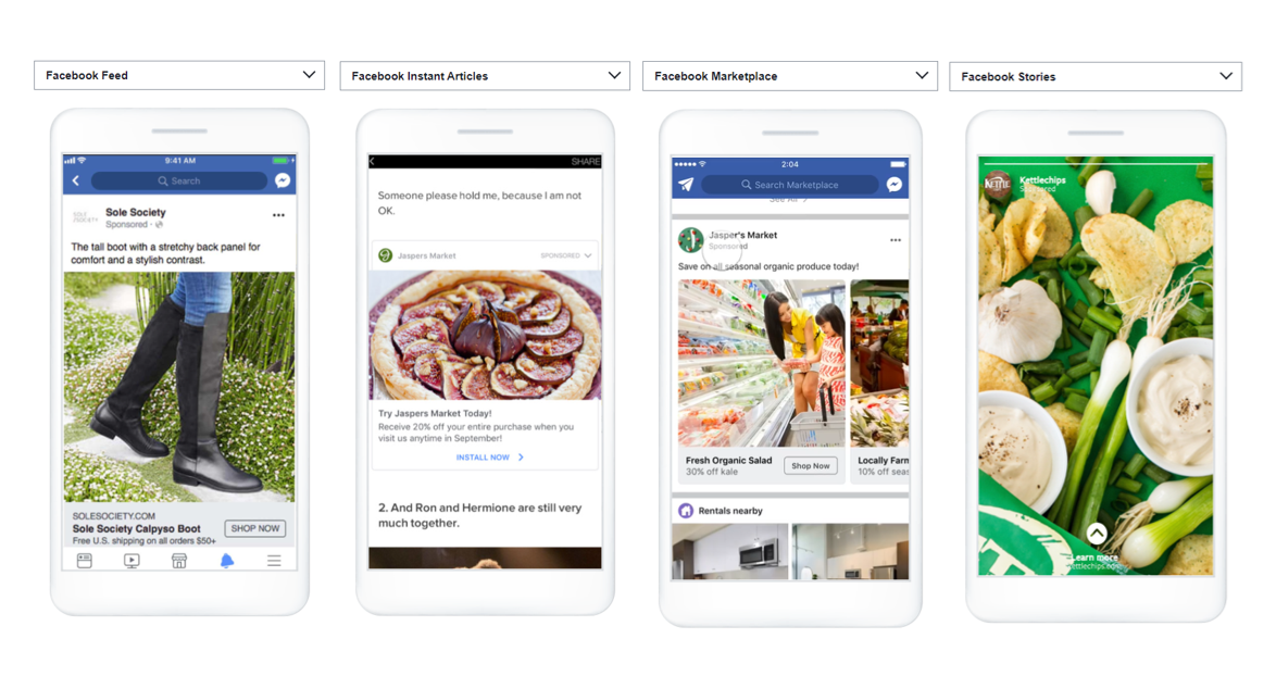 Facebook Ads a selction of Ad Options - Facebook Ads
