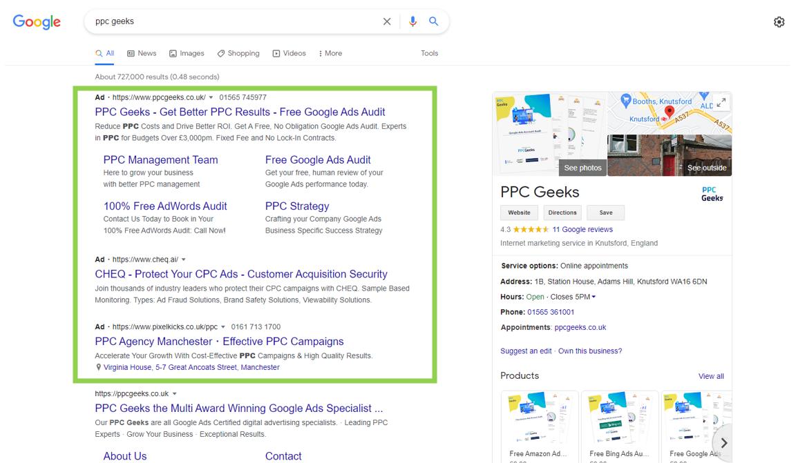 Google Ads example - Google Ads