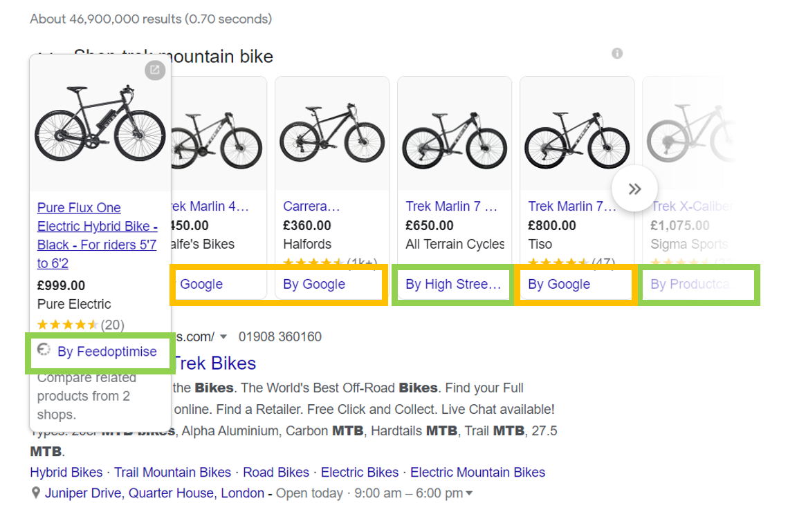 Google results page showing shopping ads with three of the six using CSS partners to place their ads PPC Geeks - CSS Shopping Ads