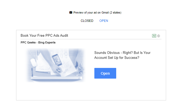 Image showing Gmail ad type on the display ads network PPC Geeks - Display Ads