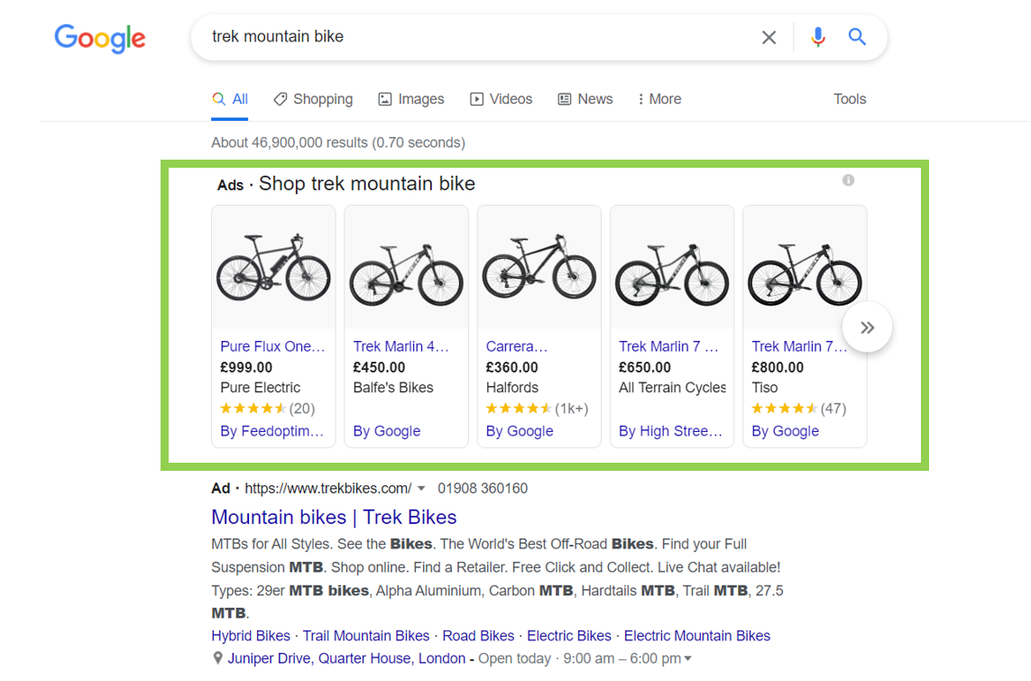 Image showing Shopping Ads on Googles serach results page PPC Geeks - Shopping Ads