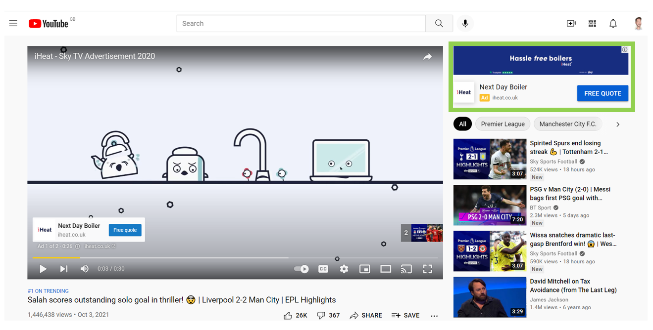 Video Ads example of display ad on Youtube PPC Geeks - Video Ads
