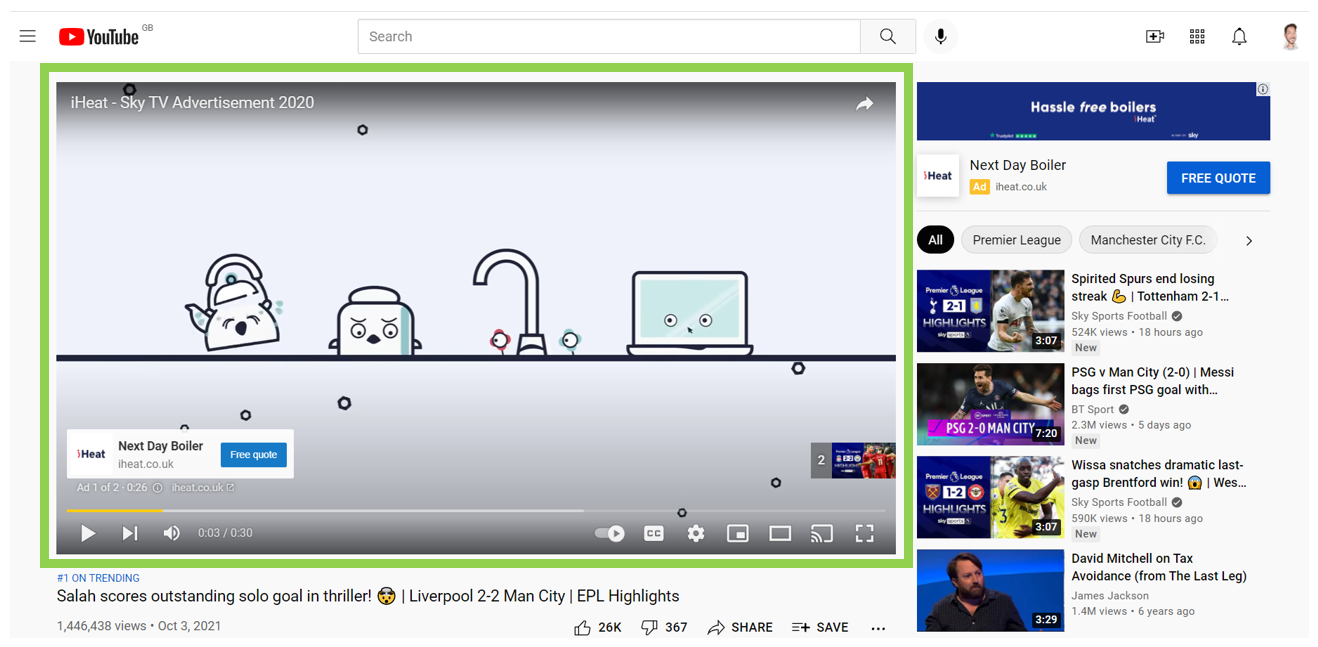 Video Ads example of non skippable ad on Youtube PPC Geeks - Video Ads